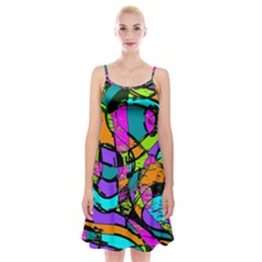 Abstract Art Squiggly Loops Multicolored Spaghetti Strap Velvet Dress