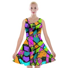 Abstract Art Squiggly Loops Multicolored Velvet Skater Dress