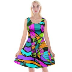 Abstract Art Squiggly Loops Multicolored Reversible Velvet Sleeveless Dress