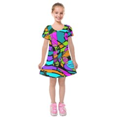 Abstract Art Squiggly Loops Multicolored Kids  Short Sleeve Velvet Dress