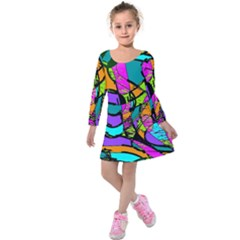 Abstract Art Squiggly Loops Multicolored Kids  Long Sleeve Velvet Dress