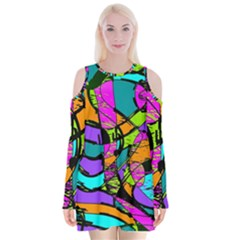 Abstract Art Squiggly Loops Multicolored Velvet Long Sleeve Shoulder Cutout Dress