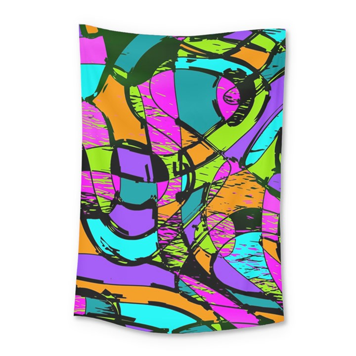 Abstract Art Squiggly Loops Multicolored Small Tapestry