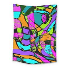 Abstract Art Squiggly Loops Multicolored Medium Tapestry