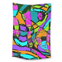Abstract Art Squiggly Loops Multicolored Large Tapestry
