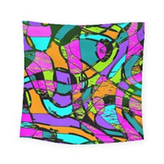 Abstract Art Squiggly Loops Multicolored Square Tapestry (small)