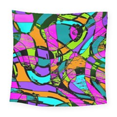 Abstract Art Squiggly Loops Multicolored Square Tapestry (large)