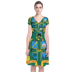National Seal of Ghana Short Sleeve Front Wrap Dress