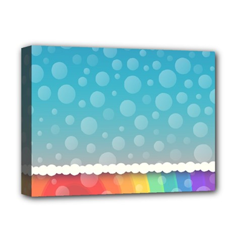 Rainbow Background Border Colorful Deluxe Canvas 16  X 12