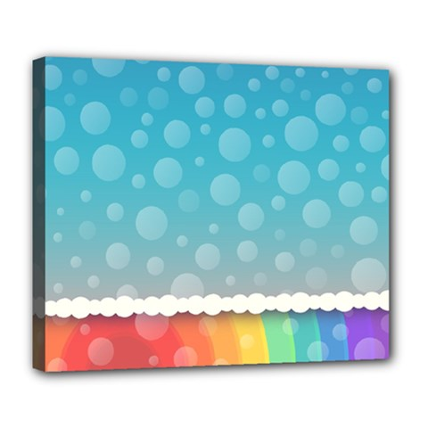 Rainbow Background Border Colorful Deluxe Canvas 24  x 20