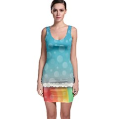 Rainbow Background Border Colorful Sleeveless Bodycon Dress