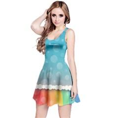 Rainbow Background Border Colorful Reversible Sleeveless Dress