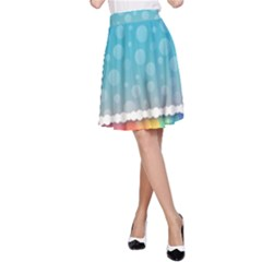 Rainbow Background Border Colorful A-Line Skirt