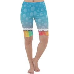 Rainbow Background Border Colorful Cropped Leggings