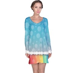 Rainbow Background Border Colorful Long Sleeve Nightdress
