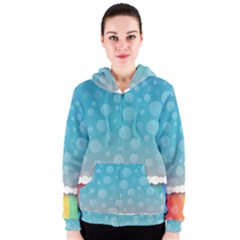Rainbow Background Border Colorful Women s Zipper Hoodie