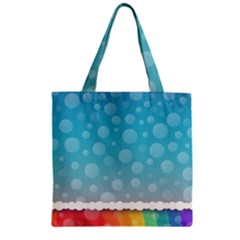 Rainbow Background Border Colorful Zipper Grocery Tote Bag