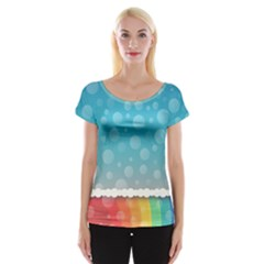 Rainbow Background Border Colorful Women s Cap Sleeve Top