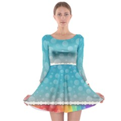 Rainbow Background Border Colorful Long Sleeve Skater Dress