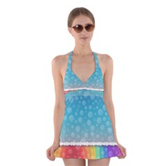 Rainbow Background Border Colorful Halter Swimsuit Dress