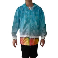 Rainbow Background Border Colorful Hooded Wind Breaker (kids)