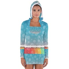 Rainbow Background Border Colorful Women s Long Sleeve Hooded T Shirt
