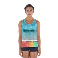 Rainbow Background Border Colorful Women s Sport Tank Top