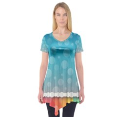 Rainbow Background Border Colorful Short Sleeve Tunic