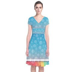 Rainbow Background Border Colorful Short Sleeve Front Wrap Dress