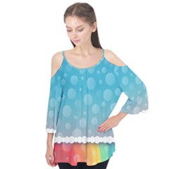 Rainbow Background Border Colorful Flutter Tees