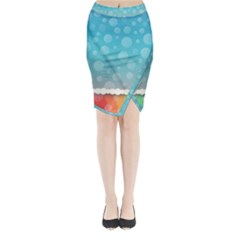 Rainbow Background Border Colorful Midi Wrap Pencil Skirt