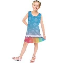 Rainbow Background Border Colorful Kids  Tunic Dress
