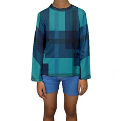 Boxes Abstractly Kids  Long Sleeve Swimwear