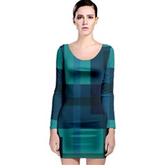 Boxes Abstractly Long Sleeve Bodycon Dress