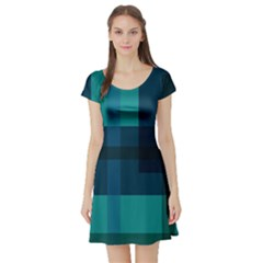 Boxes Abstractly Short Sleeve Skater Dress