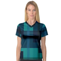 Boxes Abstractly Women s V Neck Sport Mesh Tee