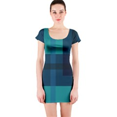 Boxes Abstractly Short Sleeve Bodycon Dress