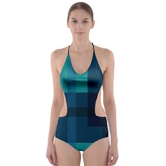 Boxes Abstractly Cut Out One Piece Swimsuit
