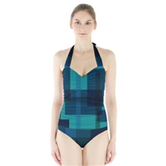 Boxes Abstractly Halter Swimsuit