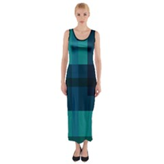 Boxes Abstractly Fitted Maxi Dress