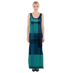 Boxes Abstractly Maxi Thigh Split Dress
