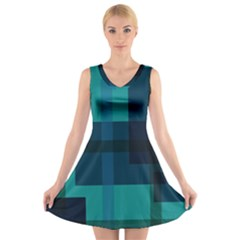 Boxes Abstractly V-Neck Sleeveless Skater Dress