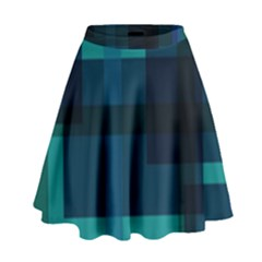 Boxes Abstractly High Waist Skirt