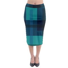 Boxes Abstractly Midi Pencil Skirt