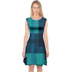 Boxes Abstractly Capsleeve Midi Dress