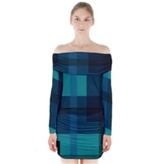 Boxes Abstractly Long Sleeve Off Shoulder Dress