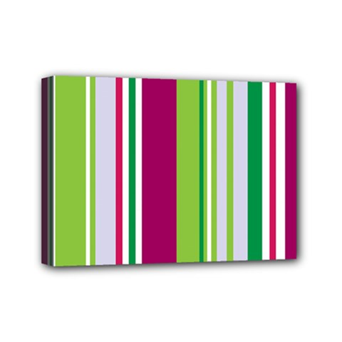 Beautiful Multi Colored Bright Stripes Pattern Wallpaper Background Mini Canvas 7  X 5