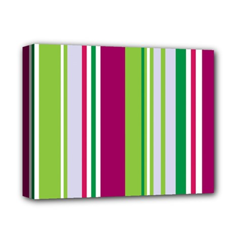 Beautiful Multi Colored Bright Stripes Pattern Wallpaper Background Deluxe Canvas 14  X 11