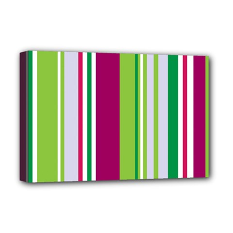 Beautiful Multi Colored Bright Stripes Pattern Wallpaper Background Deluxe Canvas 18  X 12