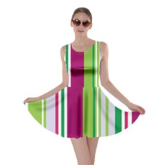 Beautiful Multi Colored Bright Stripes Pattern Wallpaper Background Skater Dress